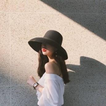 2019夏 レディース 日焼け帽子 女優帽 ナチュラルブリム 軽量 日焼け防止 ハット つば広 FS1