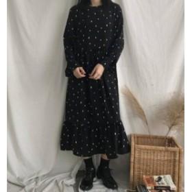 2色 ドット柄 裾フリル ワンピース ロング丈 ゆったり レトロ 大人可愛い 韓國 オルチャン