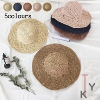 帽子 レディース 送料無料 UVカット 折りたたみ つば広 麥わら 夏 日よけ 大きいサイズ 小顔効果 旅行 おしゃれ 日焼け止
