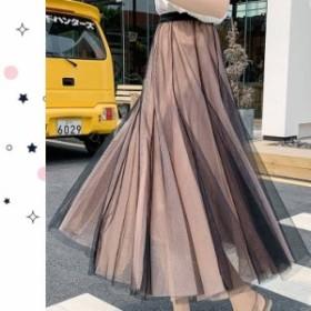 フレアスカート ロング ミモレ丈 柄 大きいサイズ 春 夏 プリーツスカート ロングスカート 韓国 ファッション レディース スカート 夏 ス