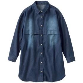 30%OFF【レディース】 ハンサムデニムロングシャツ - セシール ■カラー:インディゴブルー ■サイズ:S,L,M,LL