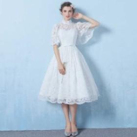 ブライダル 半袖 レース 結婚式 ウエディングドレス
