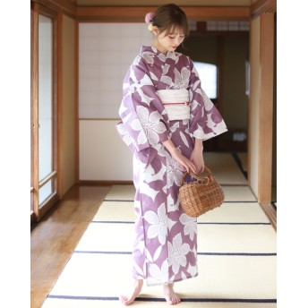 浴衣 - ゆかた館グレース 浴衣 レディース 3点セット(浴衣/帯/下駄) 紫 パープル 白 ホワイト ユリ 花柄