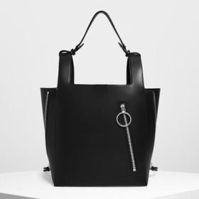 【2019 FALL 新作】リングジップディテール スクエアハンドルトート / Ring Zip Detail Square Handle Tote(Black)