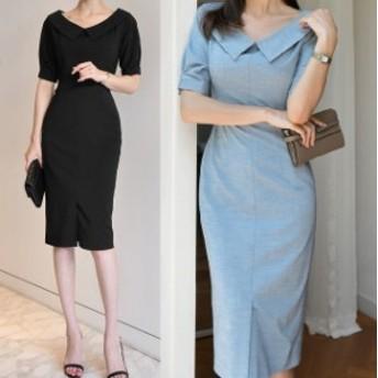 無地ワンピース 膝丈 大人女子 お呼ばれ デート シンプル 上品 韓国ファッション 韓国ワンピース