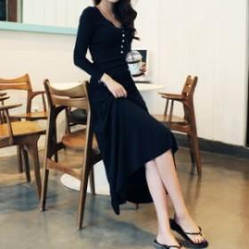 マキシ ワンピース 長袖 セクシー 韓國 ファッション 大きいサイズ 2L 3L デート 通勤服 オフィス 春新作 春服