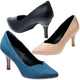 GeeRA ヒールポイントVカットパンプス ブルー レディース 5,000円(税抜)以上購入で送料無料 パンプス 夏 レディースファッション アパレル 通販 大きいサイズ コーデ 安い おしゃれ お洒落 20代 30代 40代 50代 女性 靴 シューズ