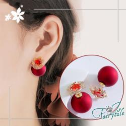 【伊飾童話】雪花鋯石*925銀針兩搭紅珍珠耳環/紅鑽