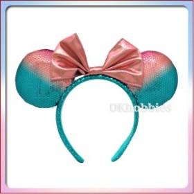 ミニー マウス カチューシャ ( ピンク×エメラルドグリーン スパンコール ) リボン ヘア アクセサリー ディズニー リゾート限定 グッズ