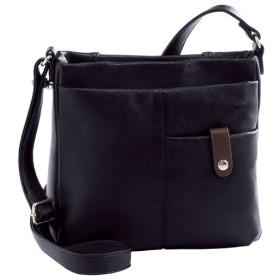 収納たっぷり牛革ショルダーバッグ - セシール ■カラー:ブラック