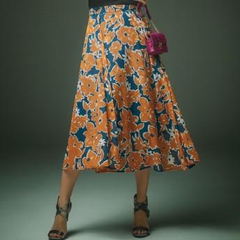 Ranan プリント柄セミロングスカート オレンジ 3L レディース 5,000円(税抜)以上購入で送料無料 フレアスカート 夏 レディースファッション アパレル 通販 大きいサイズ コーデ 安い おしゃれ お洒落 20代 30代 40代 50代 女性 スカート