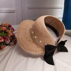 サンバイザー レディース 麦わらサンバイザー ワイドサンバイザー リボン付き 遮光 麦わら帽子 通気性 つば広 ハット キュート FS9