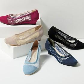 Ranan 幅広ゆったりスクエアトゥレースパンプス 20.0cm~ レディース 5,000円(税抜)以上購入で送料無料 パンプス 夏 レディースファッション アパレル 通販 大きいサイズ コーデ 安い おしゃれ お洒落 20代 30代 40代 50代 女性 靴 シューズ