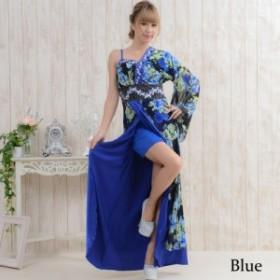 即納 艶やか 薔薇柄レース 豪華ビジュー飾り ワンショルダー 花魁 着物風 ロングドレス パーティ キャバ嬢