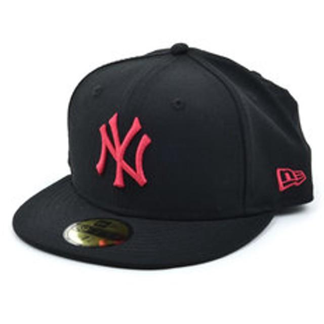 【Super Sports XEBIO & mall店:帽子】59FIFTY MLB ニューヨーク・ヤンキース ブラック × ストロベリー 11308565 カジュアル小物 帽子 キャップ