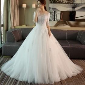 レディース 花嫁ドレス 演奏会ロングドレス ウエディングドレス ワンピース  イブニング お呼ばれ 結婚式 二次会ドレス フォーマル 優雅