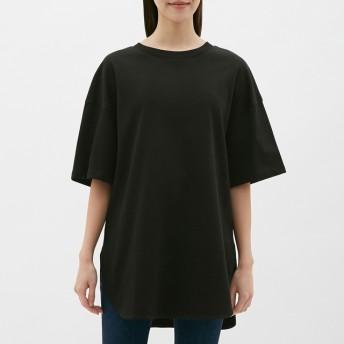(GU)ヘビーウェイトオーバーサイズT(5分袖) BLACK S