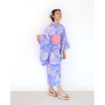浴衣 - kimonocafe ハイジュニア 女の子 浴衣 帯 2点 浴衣セット 柔らかなブルー輪っか紫陽花 130cm 140cm 150cm 低学年 高学年