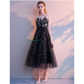 パーティードレス ドレス 結婚式 上品 ブラック パーティドレス ワンピース 二次会 大きいサイズ ミディアムドレス ウェディングドレス
