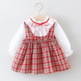 ベビードレス 子供服 女 キッズワンピースお呼ばれ ベビー レッドちゃん 長袖 七五三 可愛い カラードレス カジュアル