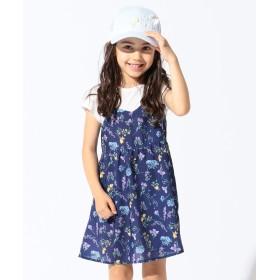 【オンワード】 any FAM KIDS(エニィファム キッズ) 【KIDS】ボタニカル花柄 重ね着風 ワンピース ネイビー 80 キッズ 【送料無料】