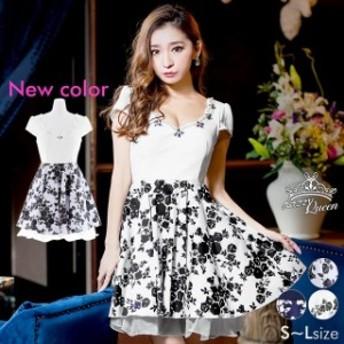 ドレス キャバドレス ワンピース 大きいサイズ S M L 胸元 スカラップ 花柄 Aライン ミニドレス フレア 花柄 モノトーン 大人 女性 白