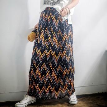 Ranan 幾何柄プリーツマキシスカート レディース