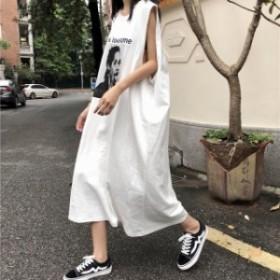 Tシャツ ロングワンピース 韓國ファッション 原宿系 ノースリーブ オーバーサイズ ストリート 體型カバー  春新作 春服