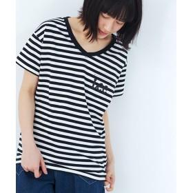 ハコ Lady Lee ポケットロゴVネックTシャツ レディース ブラック×ホワイト S 【haco!】