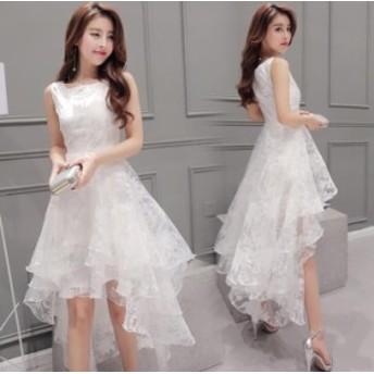 袖なし 不規則裾 チュール パーティドレス レディース フォーマルワンピース 姫系 Aラインワンピ 着痩せ 結婚式 優雅 ファション