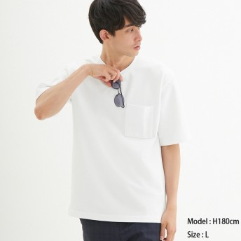 (GU)ポンチクルーネックT(5分袖) WHITE M