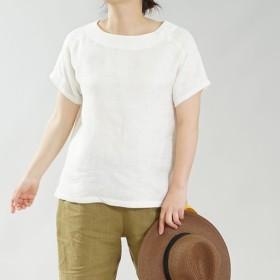 【wafu】中厚 リネン Wガーゼ Tシャツ ブラウス ふわり トップス ラグラン /オフホワイト t038a-owh2