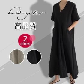 2019年新商品韓国ファッション 春夏の 大きいサイズ 半袖 ロングワンピ 、ワンピース Vネック