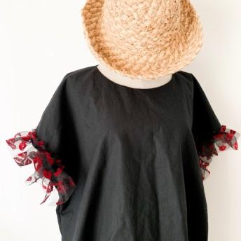 【受注生産】 黒リップ☆tokotoko☆ハーフリネンゆったりプルオーバー半袖