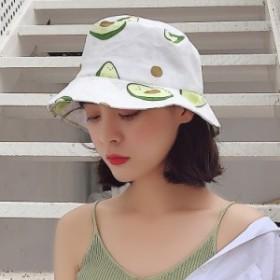 帽子 ハット シンプル レディース アボカド柄 日焼け止め オシャレ 可愛い つば広 紫外線対策 夏 新作
