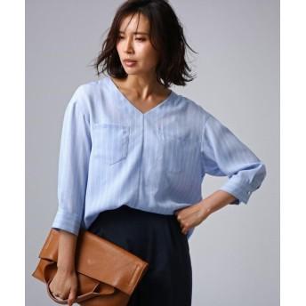 【70%OFF】 アンタイトル [L]クルーズストライプダブルポケットシャツ レディース サックス(190) 50(7L) 【UNTITLED】 【セール開催中】