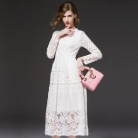 お呼ばれ 結婚式 ドレス 50代 大きいサイズ 総レース ロング ドレス Aライン ミモレ丈 長袖 フレアスリーブ 上品 フォー