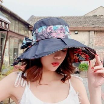 帽子 折りたたみ 花柄 つば広 リボン レディース UVカット 綿 ポリエステル 紫外線カット 大きいサイズ 夏 新作