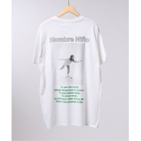 (EDIFICE/エディフィス)LIFE×Hombre Nino フロントロゴ Tシャツ/メンズ ホワイト