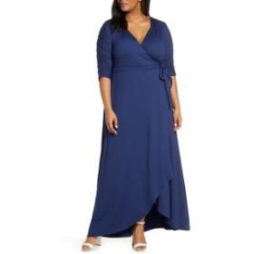 キヨナ レディース ワンピース トップス Kiyonna Meadow Dream Wrap Maxi Dress (Plus Size) Nouveau Navy