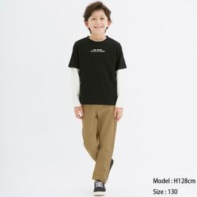 (GU)KIDS(男女兼用)ストレッチカラーストレートパンツ BEIGE 150