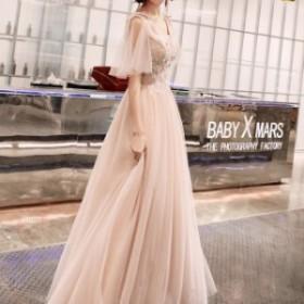 ウェディングドレス カラードレス 花柄 刺繍 ドレス リボン チュール レースアップ パステル ピンク 大きいサイズ ドレス 結