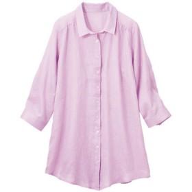 【レディース大きいサイズ】 フレンチリネン7分袖シャツ - セシール ■カラー:ラベンダー ■サイズ:6L,LL,4L,L,5L,3L