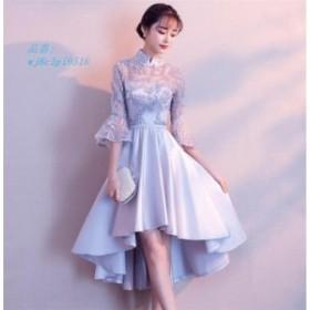 パーティードレス 結婚式 ミニドレス 大きいサイズ ウェディングドレス ワンピース パーティドレス 二次会 不規則裾 おしゃれ 半袖 ドレ