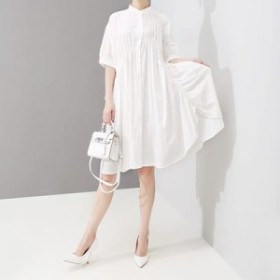 ワンピース レディース 『お得』 半袖 無地 フリル シャツ ワンピース マキシ 大きいサイズ 結婚式 黒 40代 ファッション 50代
