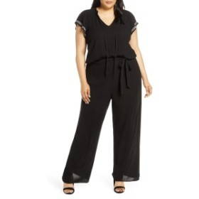 セセ レディース ワンピース トップス CeCe Flutter Sleeve Embroidered Jumpsuit (Plus Size) Rich Black