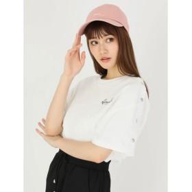 セシルマクビー CECIL McBEE ショルダースナップロゴTシャツ (オフホワイト)