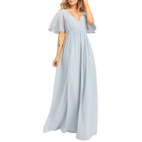ウミーユアムーム レディース ワンピース トップス Show Me Your Mumu Emily Maxi Dress Steel Blue Chiffon
