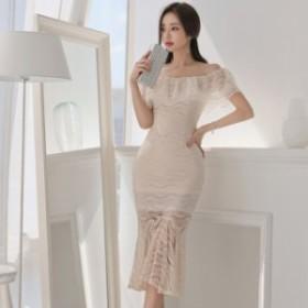 韓國 パーティードレス 結婚式 ワンピース ドレス 大きいサイズ ドレス 結婚式 お呼ばれ きれいめ マーメイド オフショルダー