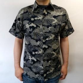 半袖和柄ムラ糸クロスシャツ(雲取り和模様)